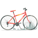Illustration of a red bicycle